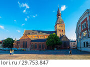Riga, Latvia - July 29, 2017: Beautiful evening view on Dome Square and Evangelical Lutheran Riga Dome Cathedral at the historical center of the old town. It is one of the most recognizable landmarks. Стоковое фото, фотограф Алексей Ширманов / Фотобанк Лори