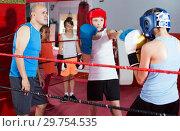 Купить «Boxer sparring on the ring», фото № 29754535, снято 12 апреля 2017 г. (c) Яков Филимонов / Фотобанк Лори