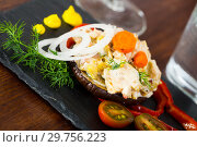 Купить «Chicken salad served on eggplant», фото № 29756223, снято 20 февраля 2019 г. (c) Яков Филимонов / Фотобанк Лори