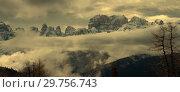 Snow-capped alps mountains in clouds. Стоковое фото, фотограф Михаил Коханчиков / Фотобанк Лори