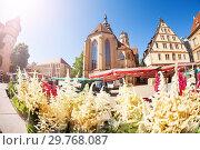 Купить «Farmer's market with flowers on Schillerplatz, Germany», фото № 29768087, снято 27 мая 2017 г. (c) Сергей Новиков / Фотобанк Лори