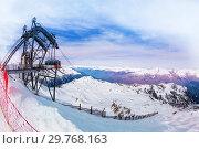 Les Arcs view with mountain ridges and cable car (2017 год). Стоковое фото, фотограф Сергей Новиков / Фотобанк Лори