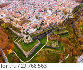 View from drone of Pamplona, Navarre, Spain (2018 год). Стоковое фото, фотограф Яков Филимонов / Фотобанк Лори