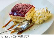 Купить «Tasty piece of blueberry cake», фото № 29768767, снято 15 октября 2019 г. (c) Яков Филимонов / Фотобанк Лори