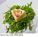 Купить «Camembert cheese with pine nuts and arugula», фото № 29768859, снято 14 июля 2020 г. (c) Яков Филимонов / Фотобанк Лори