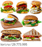 Купить «Hamburgers and sandwiches isolated on white», фото № 29773995, снято 22 июля 2019 г. (c) Яков Филимонов / Фотобанк Лори