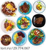 Купить «Collection of dishes of veal on white background», фото № 29774067, снято 12 декабря 2019 г. (c) Яков Филимонов / Фотобанк Лори