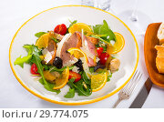 Купить «Appetizing poultry salad with duck breast», фото № 29774075, снято 31 мая 2020 г. (c) Яков Филимонов / Фотобанк Лори