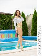 Купить «Attractive woman in swimsuit.», фото № 29778835, снято 1 июня 2016 г. (c) Сергей Сухоруков / Фотобанк Лори
