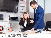 Купить «Dissatisfied manager scolding frustrated salesgirl at workplace in furniture salon», фото № 29778927, снято 9 апреля 2018 г. (c) Яков Филимонов / Фотобанк Лори