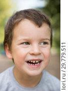 Купить «Child laughing close-up portrait», фото № 29779511, снято 28 августа 2018 г. (c) Юлия Бабкина / Фотобанк Лори