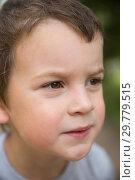 Купить «Close-up portrait serious boy», фото № 29779515, снято 28 августа 2018 г. (c) Юлия Бабкина / Фотобанк Лори