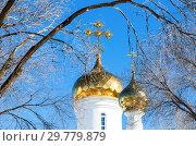 Купить «Domes of Russian orthodox church with golden cross against the blue sky in winter», фото № 29779879, снято 9 марта 2018 г. (c) FotograFF / Фотобанк Лори