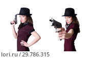 Купить «Woman gangster with handgun on white», фото № 29786315, снято 25 января 2013 г. (c) Elnur / Фотобанк Лори
