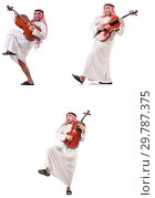 Купить «Arab man playing cello isolated on white», фото № 29787375, снято 8 июля 2020 г. (c) Elnur / Фотобанк Лори
