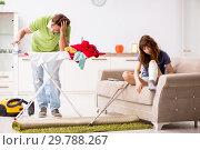 Купить «Husband helping leg injured wife in housework», фото № 29788267, снято 4 октября 2018 г. (c) Elnur / Фотобанк Лори