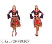 Купить «Woman in dress with oriental prints isolated on white», фото № 29788927, снято 24 апреля 2015 г. (c) Elnur / Фотобанк Лори