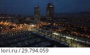 Купить «Barcelona seashore on Mediterranean in night lights, aerial view», видеоролик № 29794059, снято 28 сентября 2018 г. (c) Яков Филимонов / Фотобанк Лори