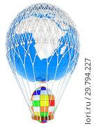 Купить «Hot Air Balloon of Earth with Easter egg. Global Easter concept. 3d render», фото № 29794227, снято 17 сентября 2019 г. (c) Guru3d / Фотобанк Лори