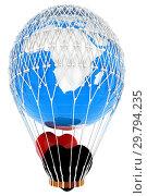 Купить «Hot Air Balloon of Earth with heart. Global wedding concept. 3d render», фото № 29794235, снято 17 сентября 2019 г. (c) Guru3d / Фотобанк Лори