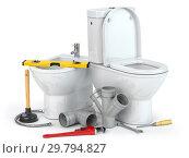 Купить «Plumbing repair service. Bowl and bidet with plumbing tools for a plumber and pvc plastic tubes.», фото № 29794827, снято 16 февраля 2019 г. (c) Maksym Yemelyanov / Фотобанк Лори