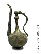 Metal jug with Arabic ornaments on a white background. Стоковое фото, фотограф Евгений Ткачёв / Фотобанк Лори