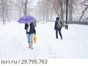 Снегопад в Москве (2019 год). Стоковое фото, фотограф Victoria Demidova / Фотобанк Лори