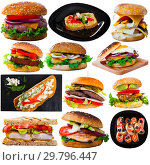 Купить «Isolated on white background hamburgers and sandwiches with meat», фото № 29796447, снято 19 февраля 2019 г. (c) Яков Филимонов / Фотобанк Лори