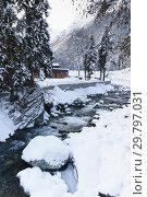 Купить «Небольшая горная река Аманауз в Домбае. Пасмурный зимний день в курортном поселке», фото № 29797031, снято 16 декабря 2018 г. (c) Наталья Гармашева / Фотобанк Лори