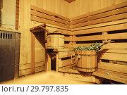 Купить «Interior of Finnish sauna, classic wooden sauna, Relax in hot sauna», фото № 29797835, снято 3 января 2019 г. (c) Сергей Тимофеев / Фотобанк Лори
