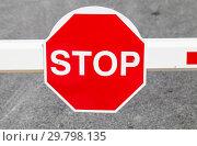 Red stop road sign. Стоковое фото, фотограф EugeneSergeev / Фотобанк Лори