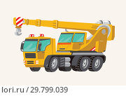 Funny cute hand drawn cartoon vehicles. Toy Car. Bright cartoon yellow Crane. Machines for the Building Work Toy Vehicles for Boys. Vector illustration. Стоковая иллюстрация, иллюстратор Olga Petrakova / Фотобанк Лори