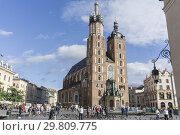 Купить «KRAKOW POLAND ON SEPTEMBER 24, 2018: The main square of the Old Town of Krakow with St Mary gothic cathedral, Lesser Poland.», фото № 29809775, снято 24 сентября 2018 г. (c) age Fotostock / Фотобанк Лори