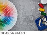 Купить «Colour swatches, painting accessories», фото № 29812775, снято 21 января 2019 г. (c) Мельников Дмитрий / Фотобанк Лори