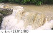 Купить «Beautiful natural canyon and amazing waterfall», видеоролик № 29813883, снято 28 января 2019 г. (c) Mikhail Starodubov / Фотобанк Лори