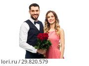 Купить «couple with bunch of flowers on valentines day», фото № 29820579, снято 30 ноября 2018 г. (c) Syda Productions / Фотобанк Лори