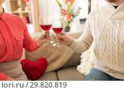 Купить «happy couple drinking red wine on valentines day», фото № 29820819, снято 15 февраля 2018 г. (c) Syda Productions / Фотобанк Лори