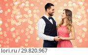 Купить «happy couple in party clothes», фото № 29820967, снято 30 ноября 2018 г. (c) Syda Productions / Фотобанк Лори