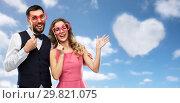 Купить «couple with party props having fun and posing», фото № 29821075, снято 30 ноября 2018 г. (c) Syda Productions / Фотобанк Лори