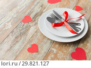 Купить «close up of table setting for valentines day», фото № 29821127, снято 9 февраля 2018 г. (c) Syda Productions / Фотобанк Лори