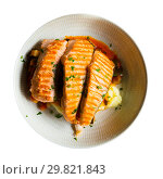 Купить «Salmon on the grill, marinated in sauce, dill, salt, pepper and a few drops of lemon», фото № 29821843, снято 28 ноября 2018 г. (c) Яков Филимонов / Фотобанк Лори