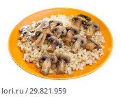 Купить «Appetizing Barley porridge with mushrooms», фото № 29821959, снято 27 июня 2019 г. (c) Яков Филимонов / Фотобанк Лори