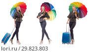 Купить «Woman with suitcase and umbrella isolated on white», фото № 29823803, снято 19 февраля 2019 г. (c) Elnur / Фотобанк Лори