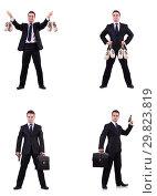 Купить «Businessman with money sacks, briefcase and handgun», фото № 29823819, снято 22 марта 2019 г. (c) Elnur / Фотобанк Лори