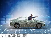 Купить «Businessman driving car covered with us dollars», фото № 29824351, снято 17 февраля 2019 г. (c) Elnur / Фотобанк Лори