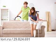 Купить «Husband helping leg injured wife in housework», фото № 29824691, снято 4 октября 2018 г. (c) Elnur / Фотобанк Лори