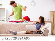 Купить «Husband helping leg injured wife in housework», фото № 29824695, снято 4 октября 2018 г. (c) Elnur / Фотобанк Лори