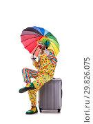 Купить «Funny clown isolated on white background», фото № 29826075, снято 28 сентября 2018 г. (c) Elnur / Фотобанк Лори