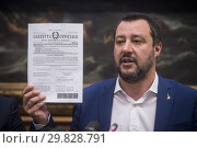 Купить «Italian Minister of Interior and Deputy Prime Minister Matteo Salvini during the press conference on Pensions Reform Quota 100, Rome, ITALY-29-01-2019.», фото № 29828791, снято 29 января 2019 г. (c) age Fotostock / Фотобанк Лори