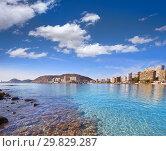 Купить «Alicante skyline from Almadraba beach of Spain at Costa Blanca.», фото № 29829287, снято 2 декабря 2018 г. (c) easy Fotostock / Фотобанк Лори
